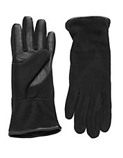Fleece And Leather Touchscreen Gloves