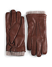 Cashmere Lined Cuffed Leather Gloves