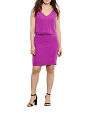 Lauren Ralph Lauren Womens Plus Size Overlay V-Back Dress (Purple)