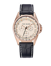 Mens Rose Goldtone Chronograph Watch
