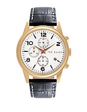Mens Goldtone Chronograph Watch with Black Leather Strap