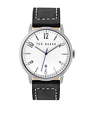 Mens Stainless Steel and Leather Watch