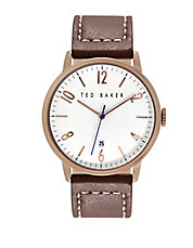 Mens Rose Goldtone and Leather Watch