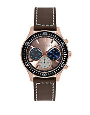 Mens Rose Gold Tone Watch with Multi Color Chronograph Dial
