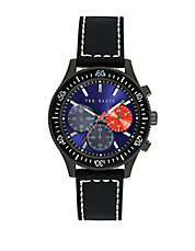 Mens Gunmetal Tone Watch with Multi Color Chronograph Dial