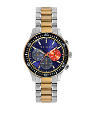 Mens Two Tone Watch with Multi Color Chronograph Dial