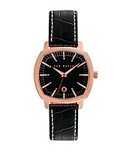 Mens Rose Goldtone Square Watch with Leather Strap