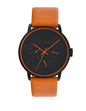 Mens Smart Casual Black Chronograph and Leather Strap Watch