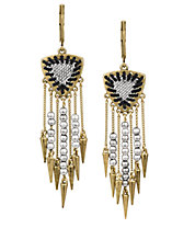 Goldtone and Mixed Bead Fringe Drop Earrings