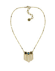 Cabochon and Fringe Pendant Necklace