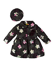 Girls 2-6x Embroidered Flower Bubble Coat and Hat Set