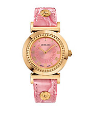 Ladies Goldtone and Pink Vanity Watch