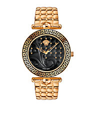 Ladies Vanitas Rose Goldtone Stainless Steel Quilted Bracelet Watch