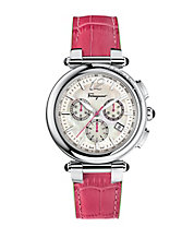 Ladies Silver-Tone Chronograph Watch with Pink Leather Strap