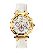 Ladies Gold-Tone Chronograph Watch with White Leather Strap