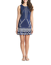 Banded-Print A-Line Dress