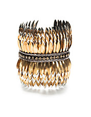 Layered Brass Feather Cuff