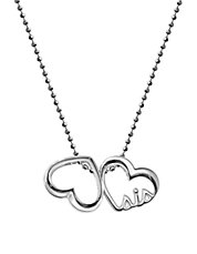 Little Words Sis Hearts Sterling Silver Pendant Necklace