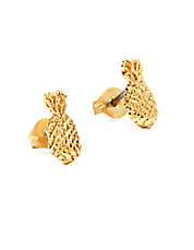 Pineapple 14K Yellow Gold Stud Earrings