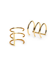 Delicate Caged 14K Gold Cuff Earrings