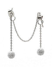 Eavesdrop Double Hang Glitz and Silver-Tone Drop Earrings