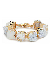 Modern Garden Howlite and 14K Gold Brass Faceted Cube Bracelet