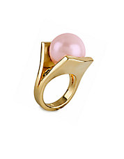 Modern Garden Pinball Howlite and 14K Gold Brass Ring