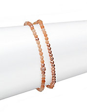 Cubic Zirconia and 18k Rose Gold Beaded Stretch Bracelet