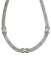 Sterling Silver Cage Necklace with Diamonds