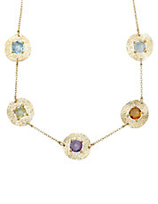 14 Kt. Yellow Gold Multi Stone Illusion Necklace