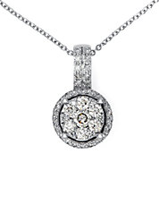 Diamond And 14K White Gold Circle Pendant