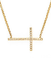 D Oro 14K Yellow Gold and Diamond Cross Necklace