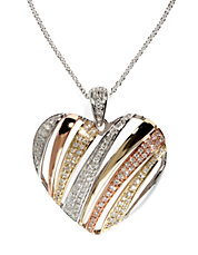Diamond, 14K White, Rose And Yellow Gold Heart Pendant