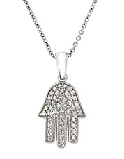 Pave Classica 14K White Gold and Diamond Hamsa Hand Pendant Necklace
