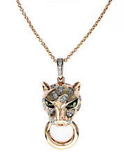 Signature 14K Rose Gold Diamond and Tsavorite Panther Pendant Necklace