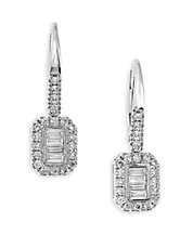 Baguette Diamond and 14K White Gold Drop Earrings