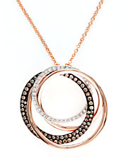 Espresso Diamond And 14K Rose Gold Circle Pendant Necklace