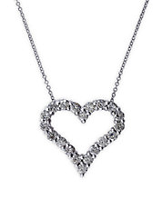 Classique 14K White Gold Diamond Heart Pendant Necklace