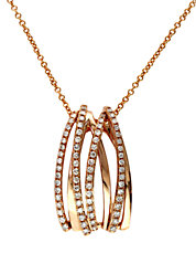 Pave Rose 14 Kt. Rose Gold Diamond Crossover Pendant
