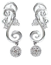 Bouquet Diamond and 14K White Gold Drop Earrings