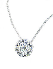 Bouquet 14 Kt. White Gold Diamond Pave  Flower Pendant Necklace