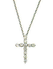 Classique 14K White Gold Diamond Cross Pendant Necklace