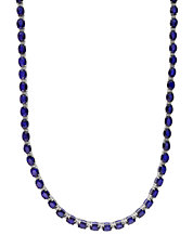 Diamond, Sapphire And 14K White Gold Diamond Necklace, 0.55 TCW