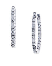 Pave Classica Diamond and 14K White Gold Hoop Earrings, 0.56 TCW