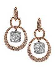 Diamond, 14K Rose And White Gold Drop Earrings