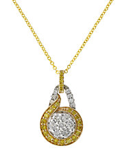 Yellow And White Diamond, 14K White And Yellow Gold Pendant Necklace