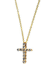 D Oro Diamond Cross in 14K Yellow Gold