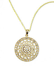 D Oro 14 Kt Gold Diamond Pave Medallion Pendant Necklace