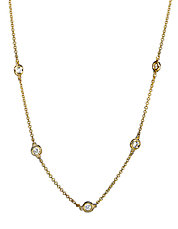Trio 14K Yellow Gold Diamond Station Necklace
