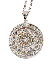 Pave Classica 14K White Gold Diamond Medallion Pendant Necklace